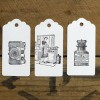 Set of letterpress tags